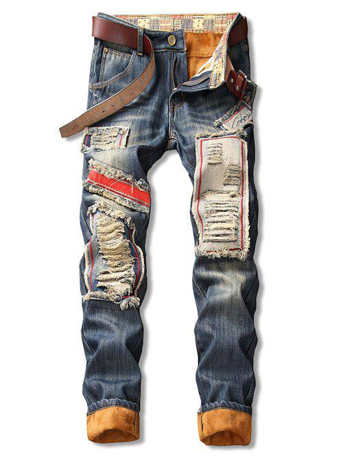 Fancy Distressed Patch Design Fleece Cuffed Jeans