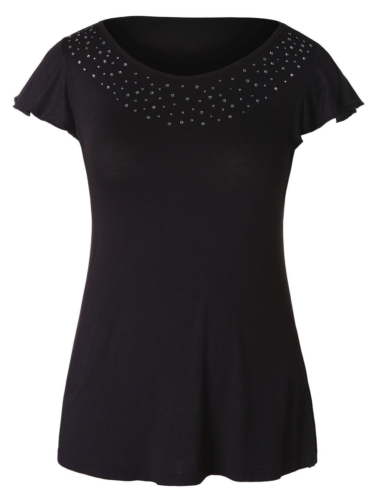 Hot Plus Size Rhinestone Embellished T-shirt