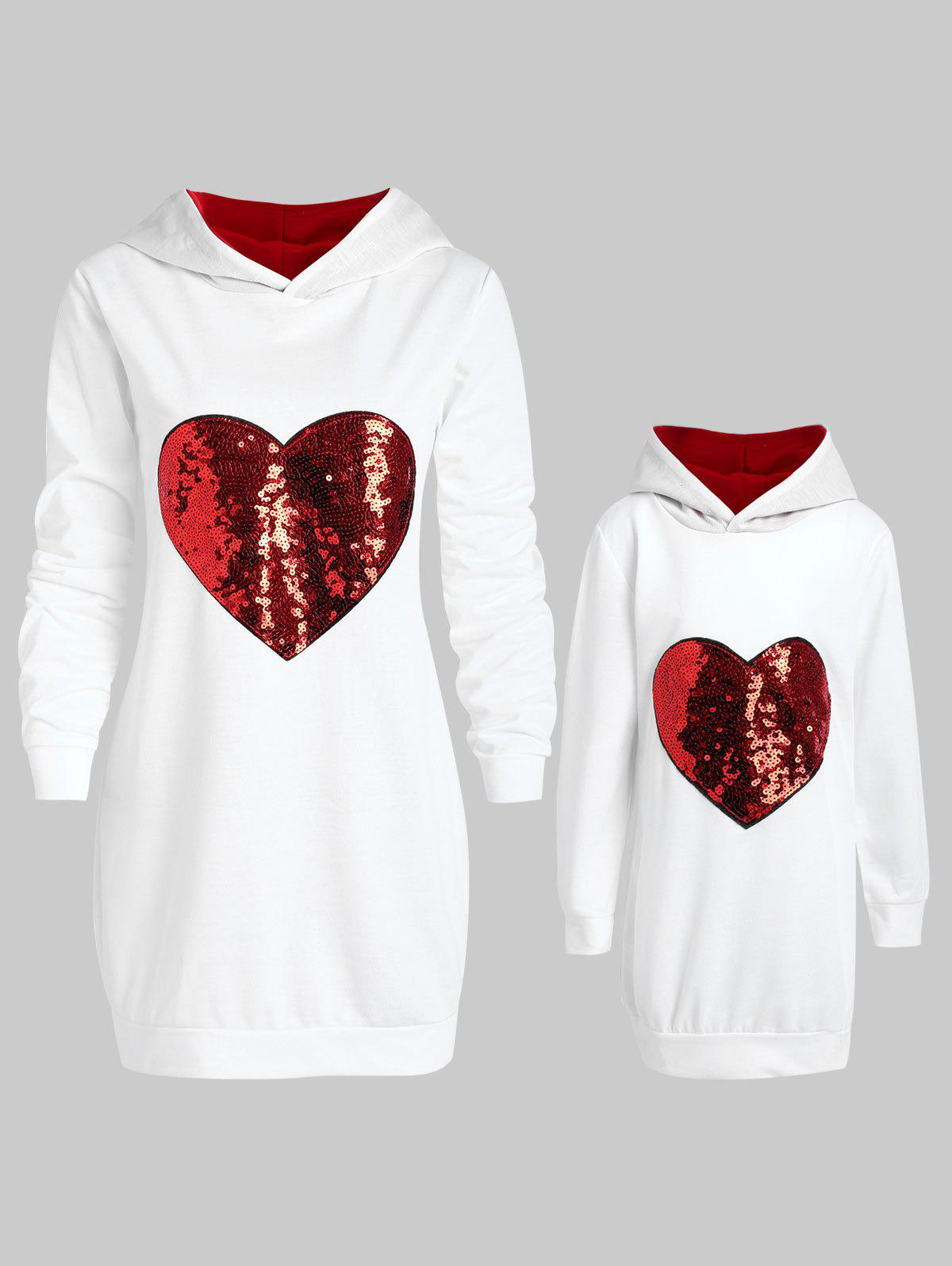 Chic Mother and Daughter Matching Heart Sequins Tunic Hoodie
