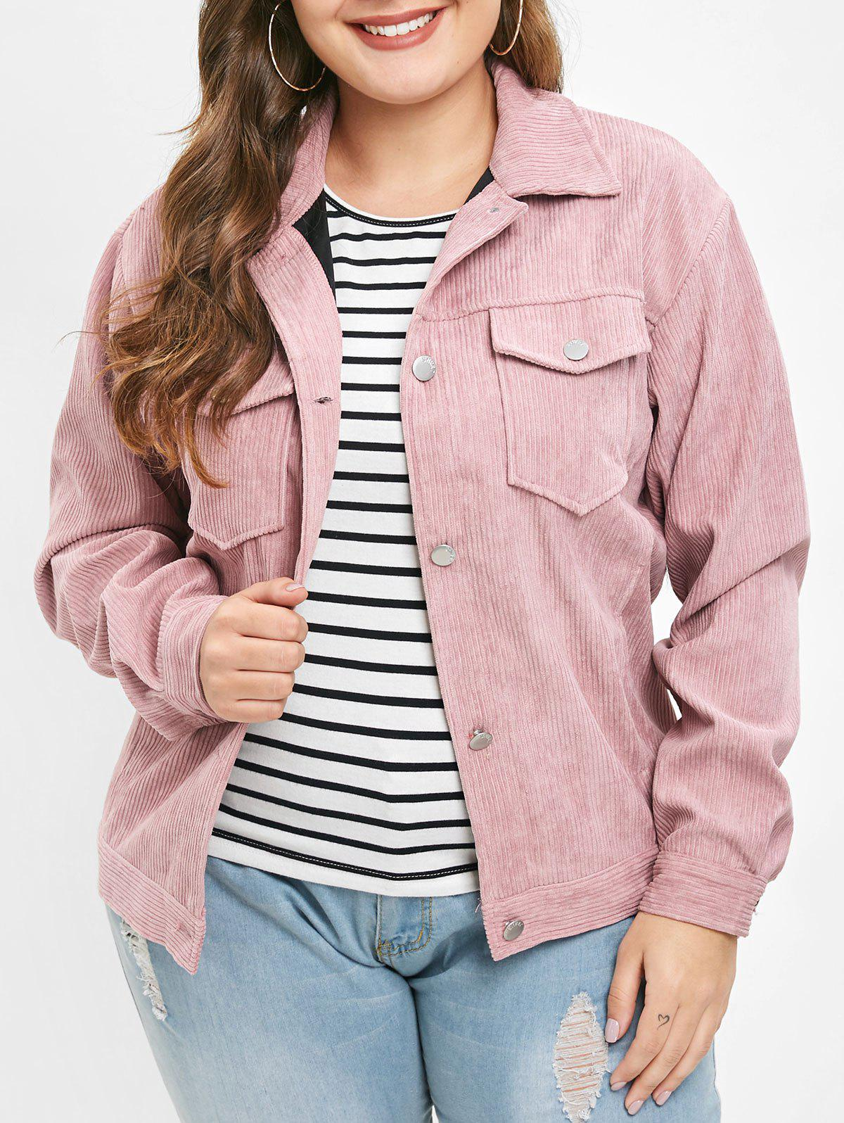 Shops Plus Size Pockets Button Fly Corduroy Jacket
