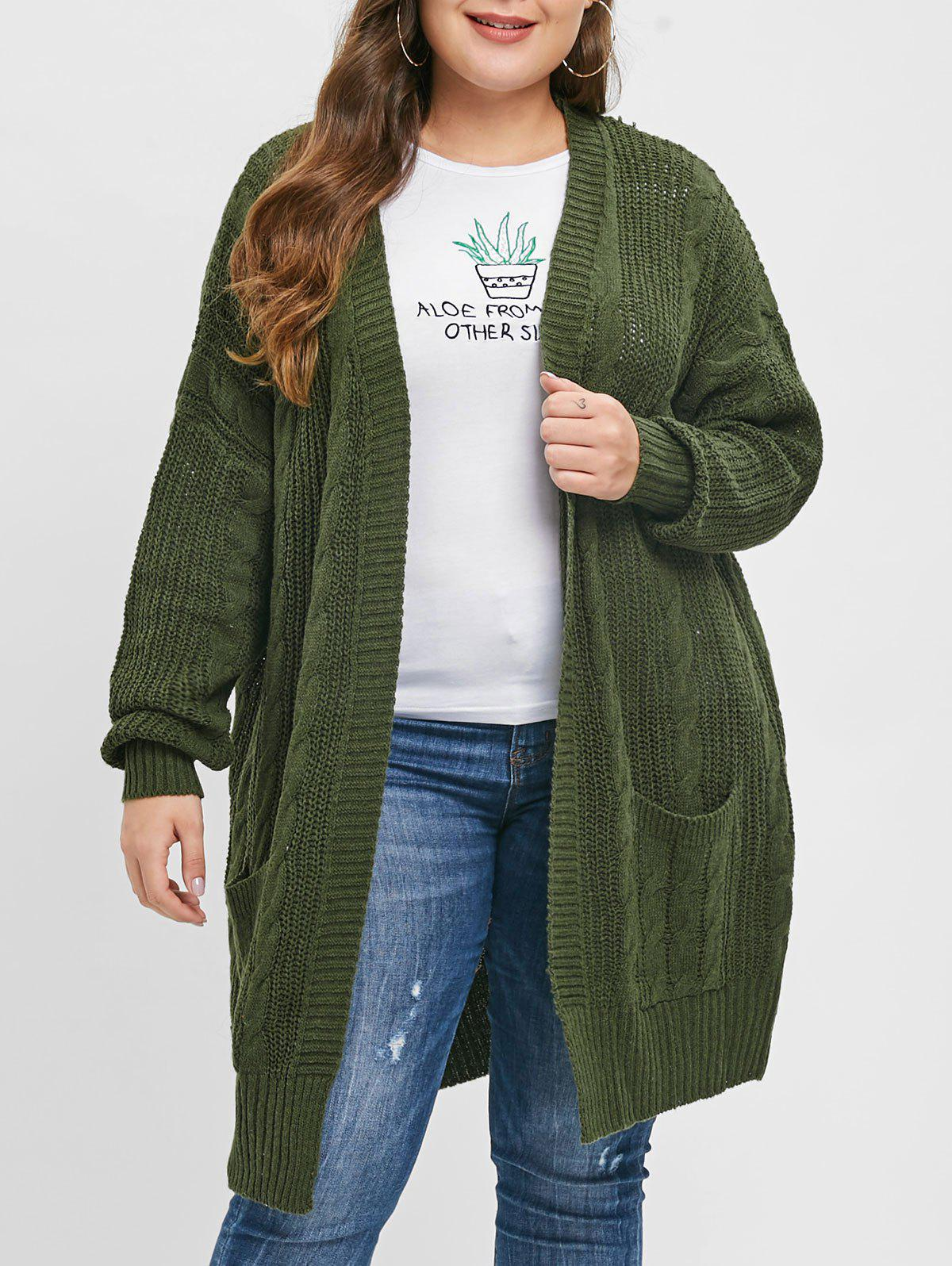 dd32f3c1ea877 Discount Cable Knit Plus Size Front Pocket Cardigan