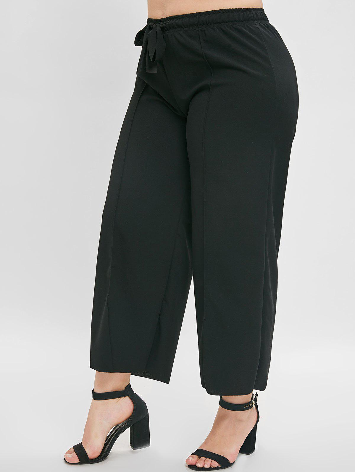 Online Front Slit Plus Size Wide Leg Pants