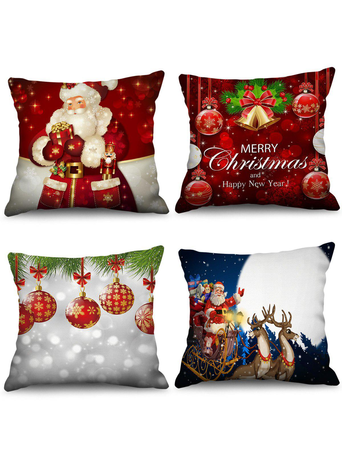 Outfits 4PCS Father Christmas Bell Ball Printed Pillow Cover