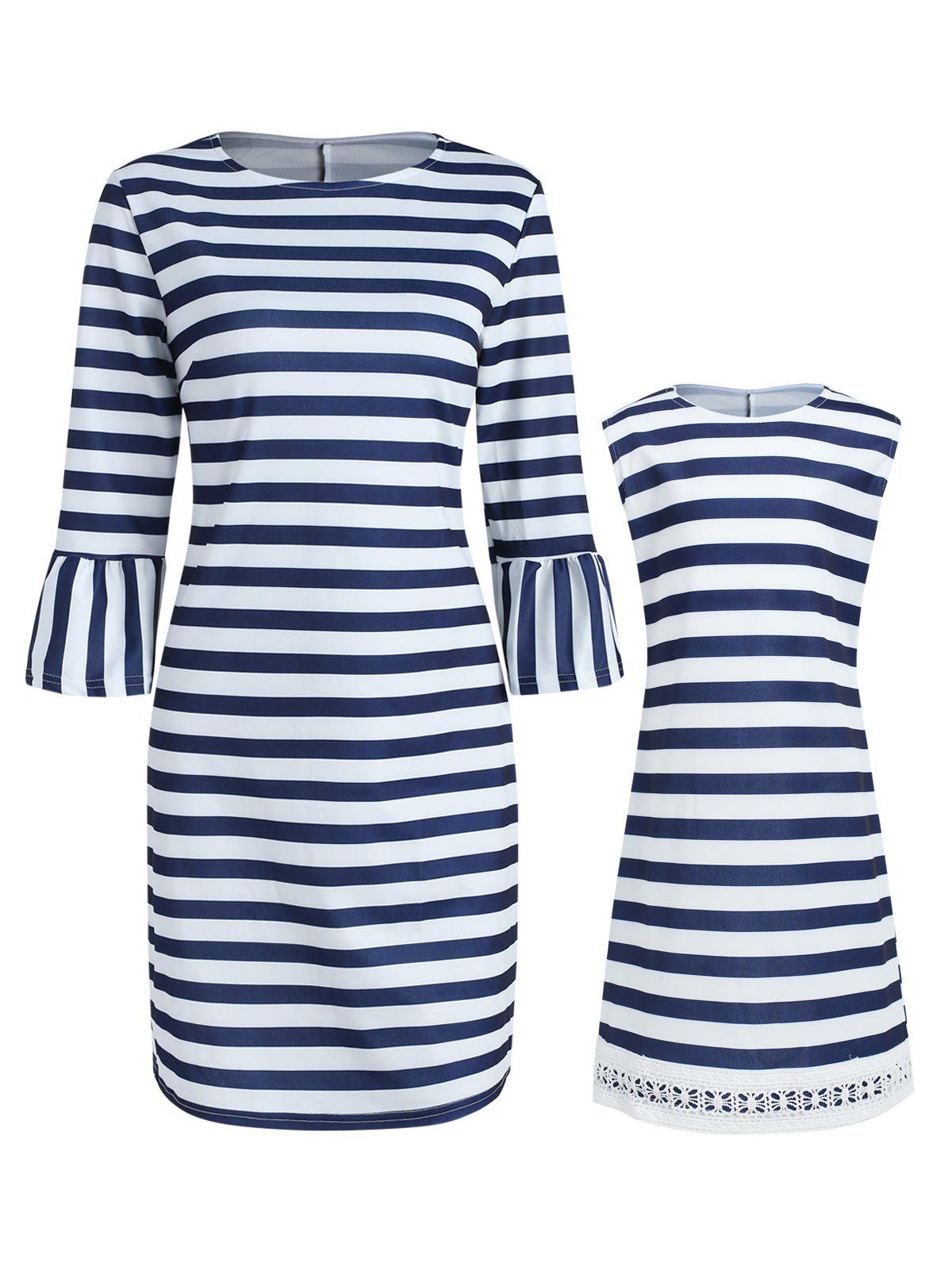Mother and Daughter Casual Matching Stripe Dress