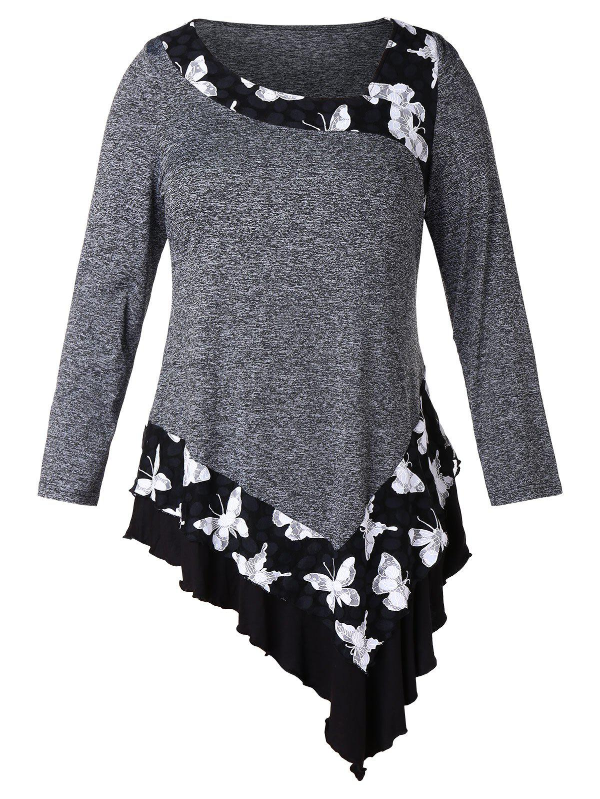 Outfits Plus Size Asymmetric Butterfly Pattern T-shirt