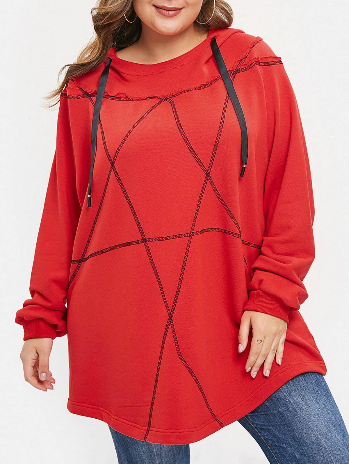 Sweat à Capuche Pull-over Bicolore de Grande Taille Rouge L