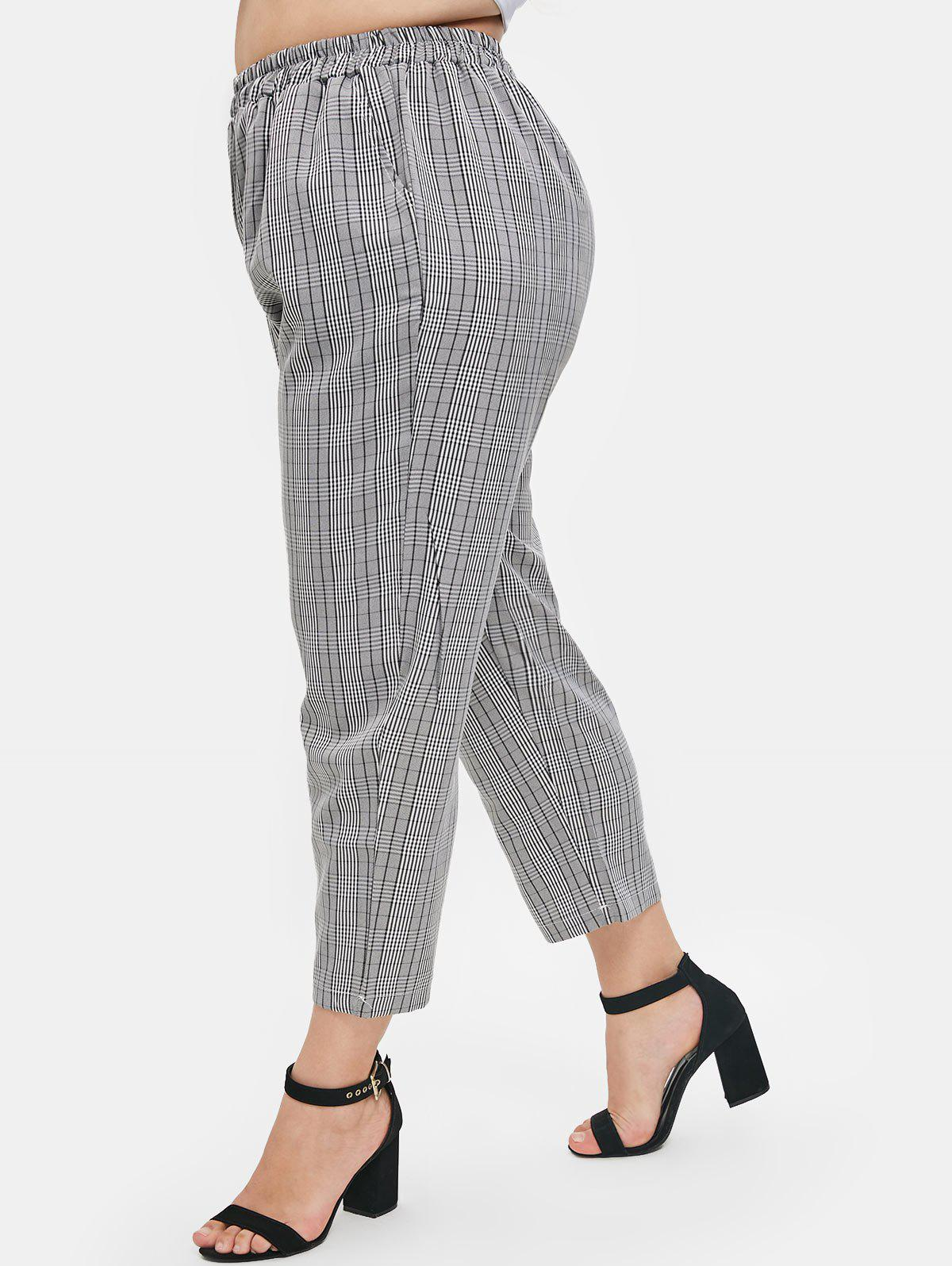 Latest Elastic Waist Plus Size Tartan Pants