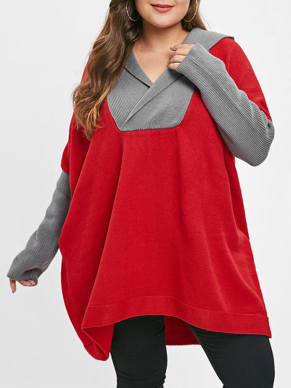 Discount Long Sleeve Plus Size Two Tone Sweater