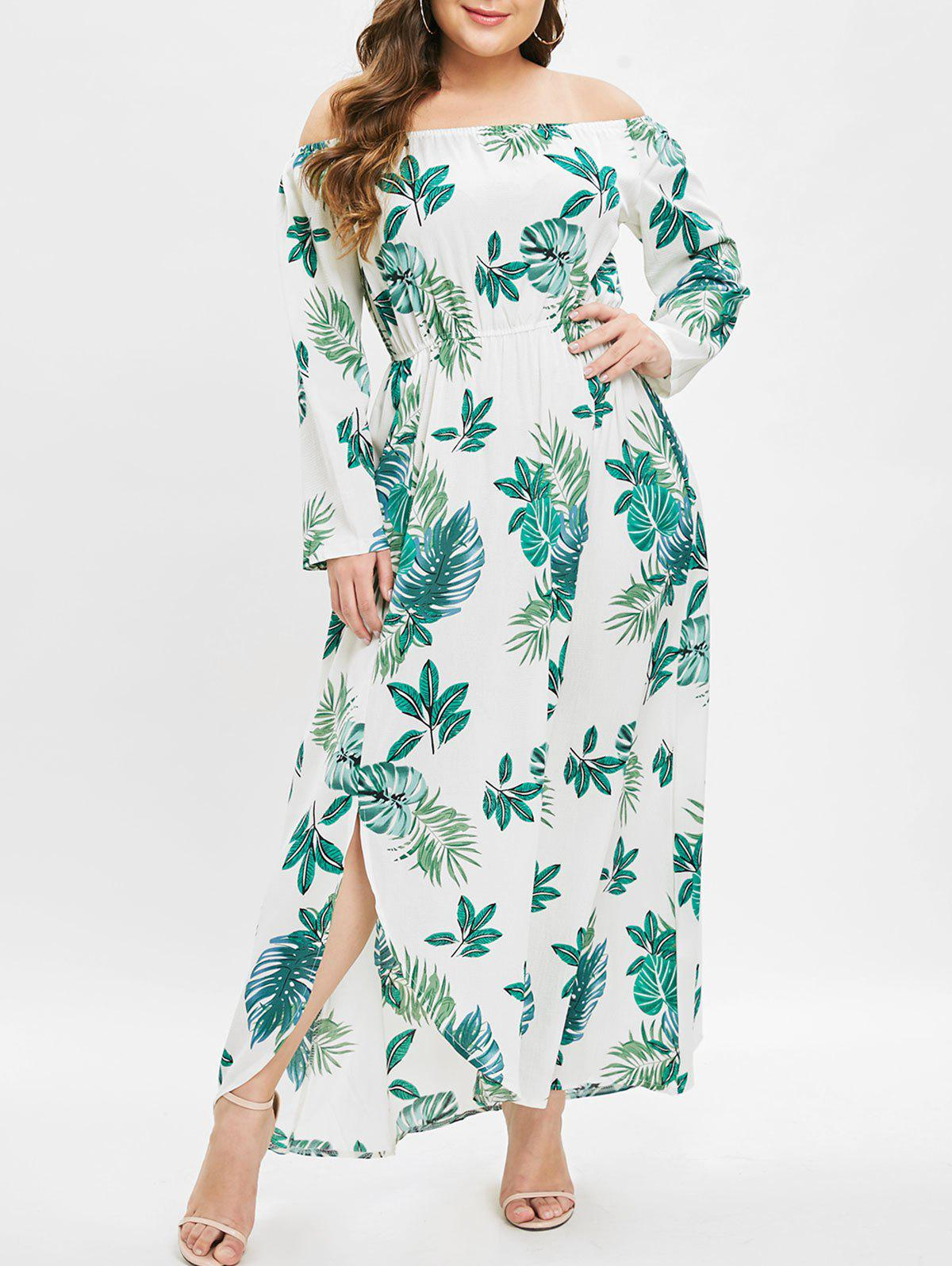 Sale Plus Size Off Shoulder Slit Printed Maxi Dress