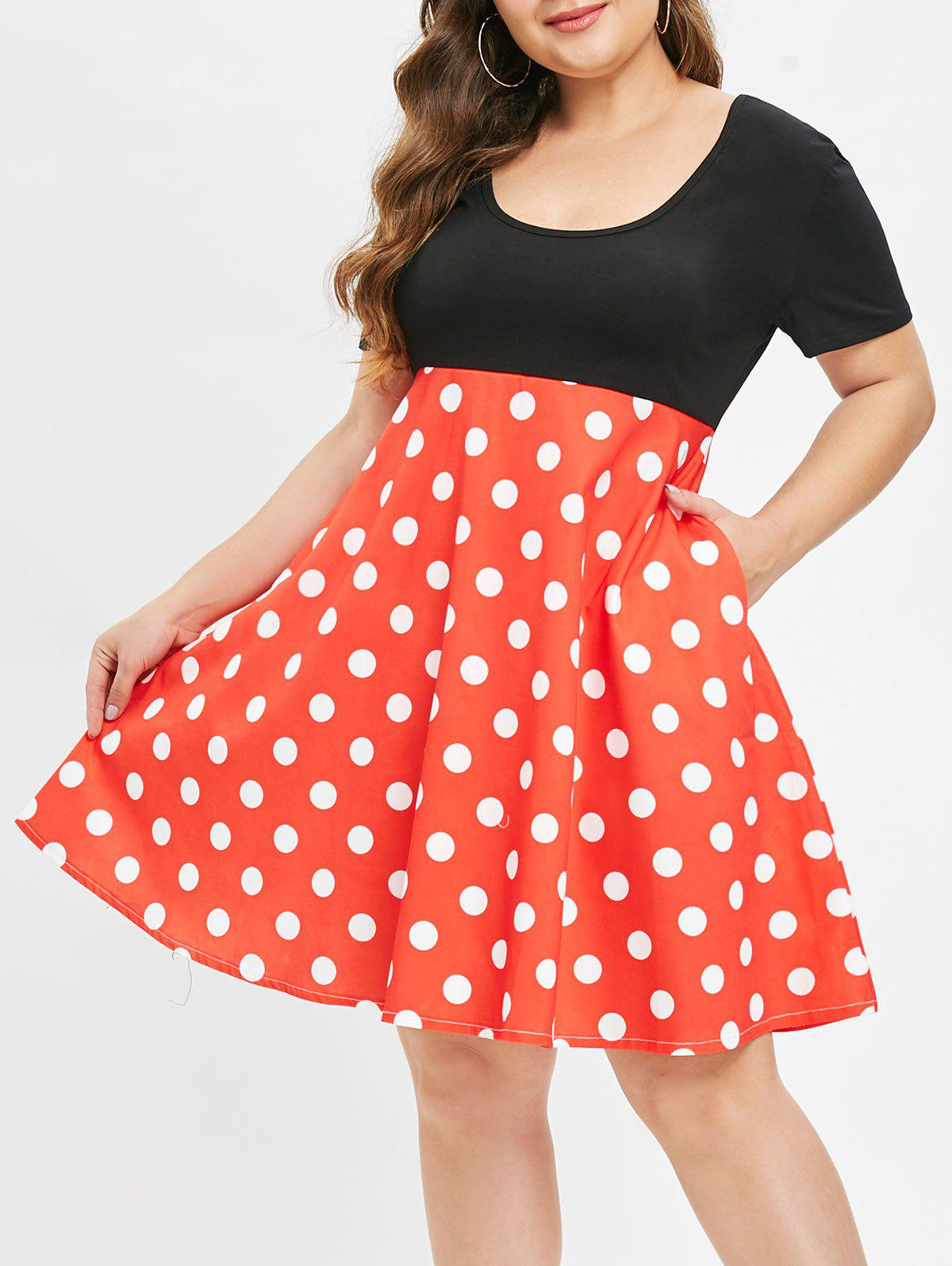 Shop Plus Size Vintage Polka Dot Flare Dress