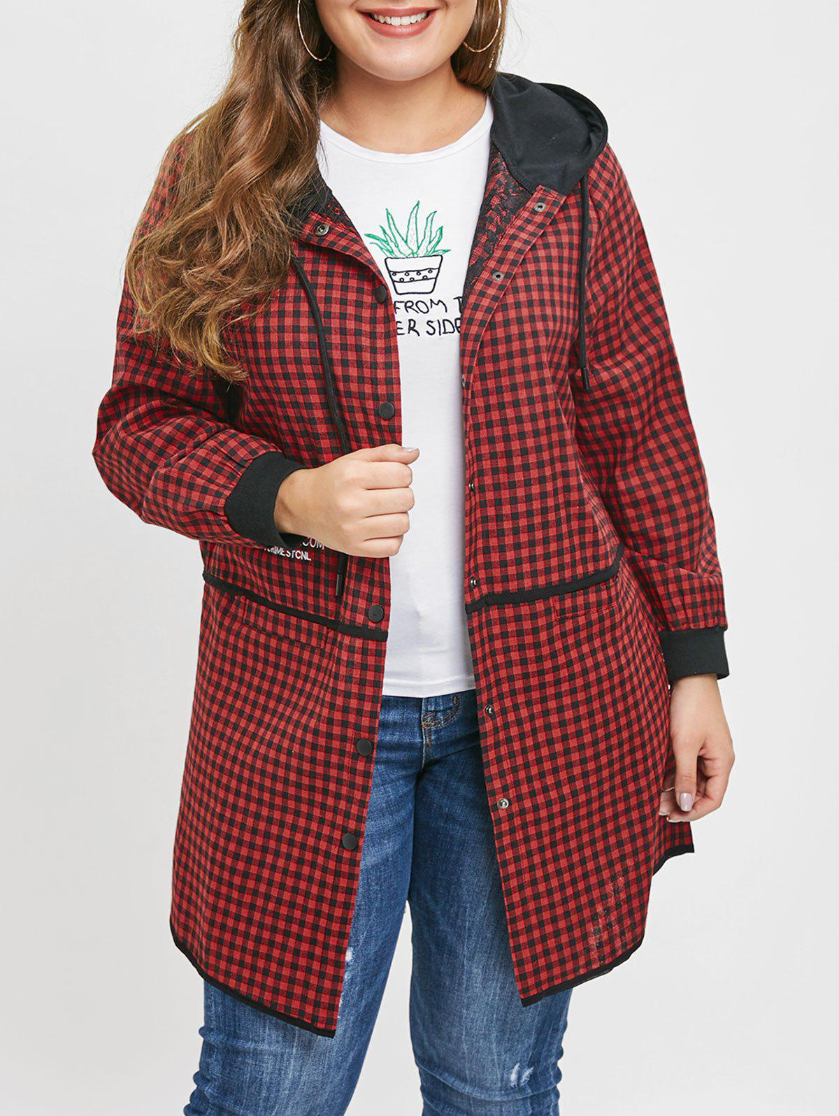 Fashion Plus Size Embroidered Pockets Plaid Hooded Coat