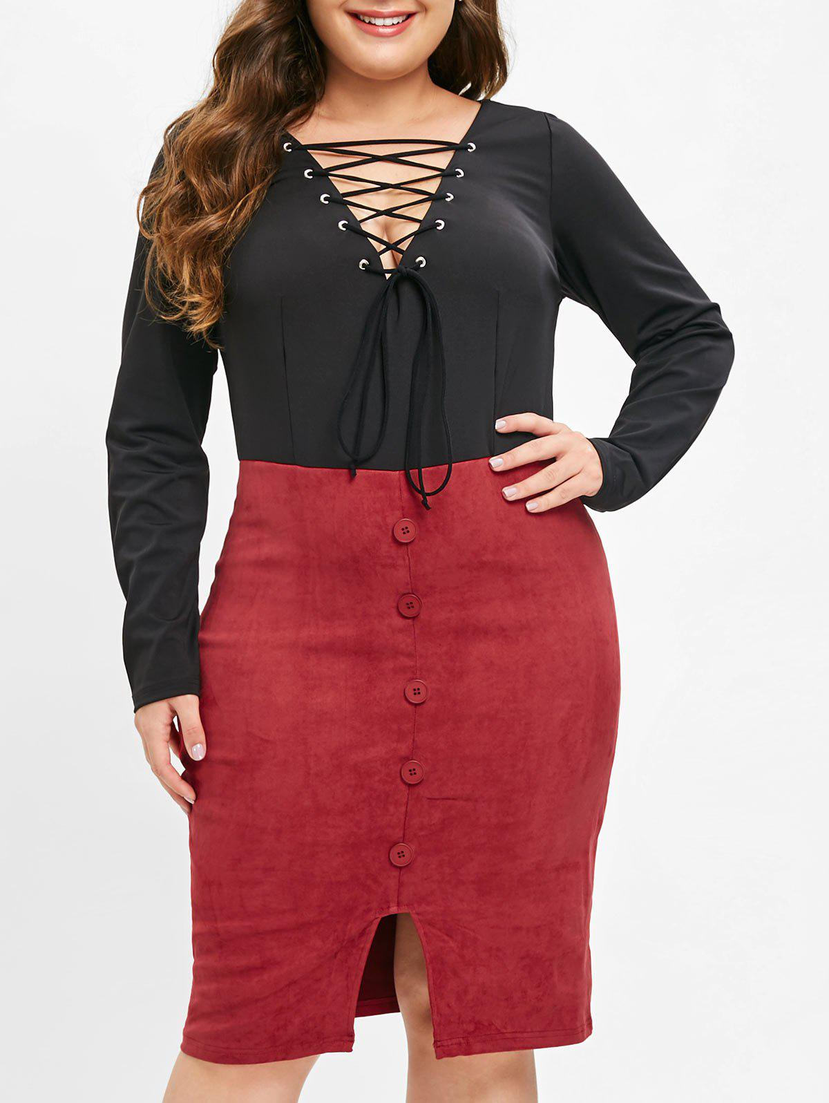 Fancy Plus Size Long Sleeves Bodycon Dress with Lace Up