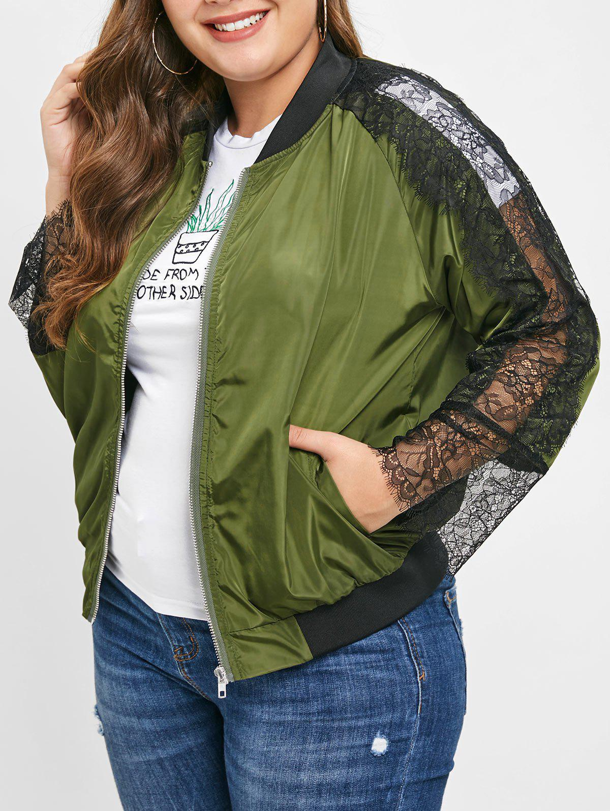 Best Plus Size Raglan Sleeves Jacket with Lace Panel