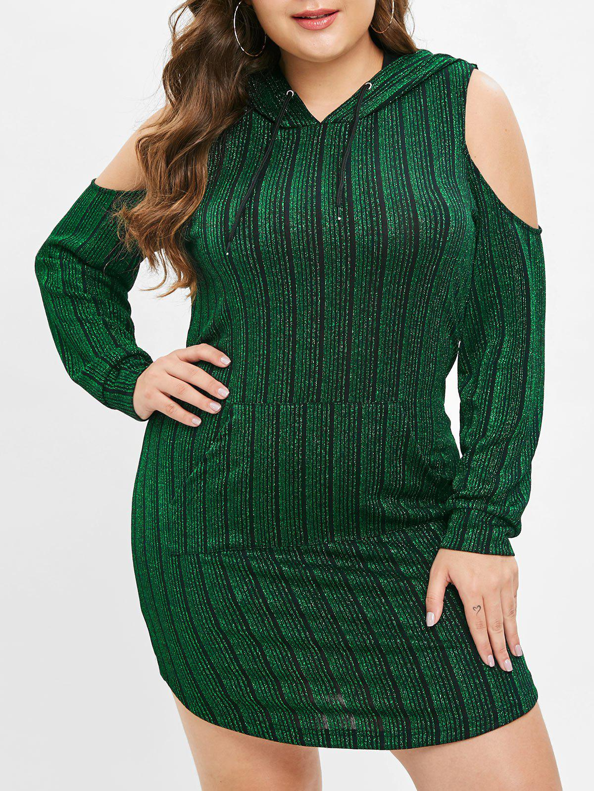 Chic Plus Size Long Sleeves Shiny Hoodie Dress