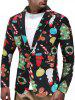Christmas Snowmen Candy Tree Printed Casual Blazer -