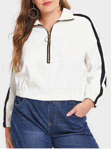 Plus Size Half Zip Stripe Trim Sweatshirt - MILK WHITE - 2X