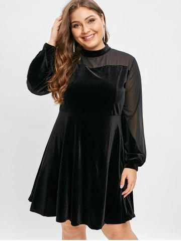 Plus Size High Waisted Velvet Dress with Mesh