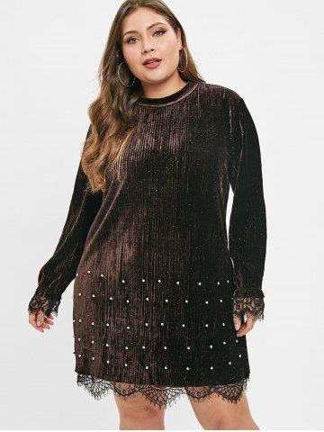 Plus Size Beading Lace Trim Velvet Dress