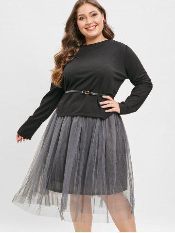 Belted Asymmetrical Top and Long Mesh Skirt