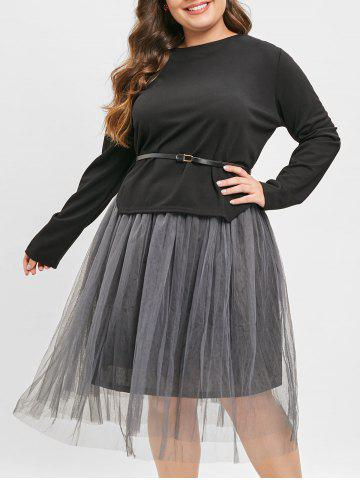 Belted Asymmetrical Top and Long Mesh Skirt - BLACK - L
