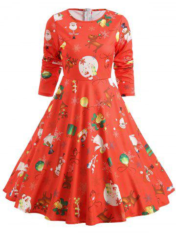 Christmas Bell Print Long Sleeve Swing Dress