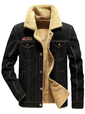 Applique Pockets Plush Casual Jacket