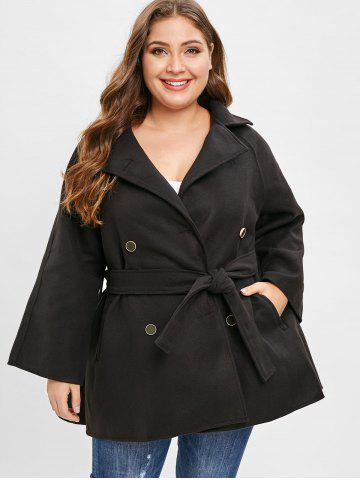 Plus Size Double Breast Coat with Belt