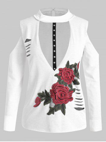 Plus Size Long Sleeves Embroidered Cutout Ripped Tee