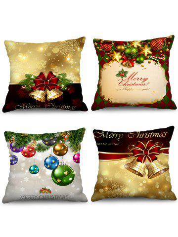 4PCS Merry Christmas Bell Ball Printed Pillow Cover - MULTI - W18 X L18 INCH
