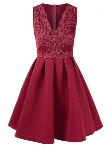 Lace Panel V Neck Fit and Flare Dress