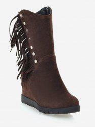 Plus Size Hidden Wedge Fringed Mid Calf Boots -