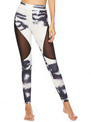 Sheer Mesh Panel Tie Dye Leggings -