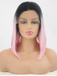 Center Parting Medium Colormix Straight Synthetic Lace Front Wig -