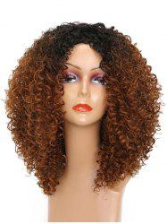 Side Bang Colormix Medium Kinky Curly Synthetic Wig -