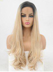 Side Parting Colormix Long Natural Straight Synthetic Lace Front Wig -