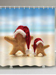 Beach Christmas Starfish Print Waterproof Bathroom Shower Curtain -