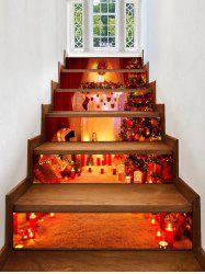Christmas Fireplace Tree Pattern Removable Stair Stickers -