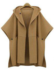 Plus Size Side Slit Hooded Coat -