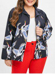 Plus Size Drop Shoulder Graphic Jacket -