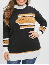 Plus Size High Neck Graphic Longline Sweater -