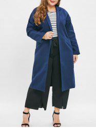 Plus Size Longline Coat with Open Front -