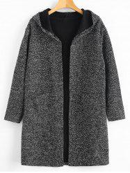 Plus Size Open Front Hooded Coat with Pockets -