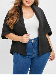 Plus Size Asymmetric Open Front Coat -
