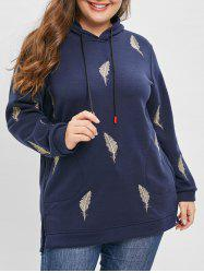 Plus Size Pullover Embroidered Slit Longline Hoodie -