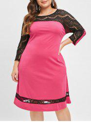 Lace Panel Plus Size Round Neck Knee Length Dress -