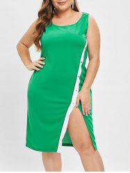 Plus Size Scoop Neck Front Slit Bodycon Dress -