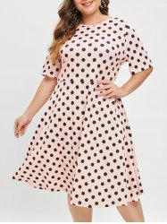 Polka Dot Plus Size Round Neck A Line Dress -