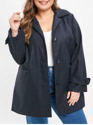 Plus Size Single Breasted Coat with Pockets -