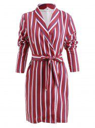 Shawl Collar Striped Print Blazer -