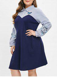 Plus Size Embroidered Shirt Dress -